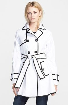 Betsey Johnson Piped Double Breasted Trench Coat