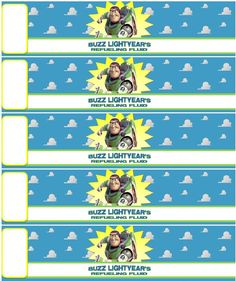 Buzz Lightyear's Refueling Fluid- Great for your Toy Story BD Party!Free printable (non commercial use, please) to wrap around water bottles! To help insure the ink colors don't run, put sealing tape over it -don't just scotch tape the ends.