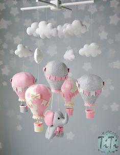 Your place to buy and sell all things handmade Baby Mobile Felt, Felt Baby, Elephant Balloon, Elephant Baby, Baby Elephants, Indian Elephant, Felt Crafts Diy, Felt Decorations, Handmade Felt