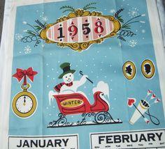 Vintage Startex Towel Winter 1958 Snowmen & by unclebunkstrunk, $42.99