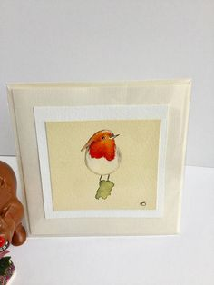 Hand painted Christmas card robin greetings card robin