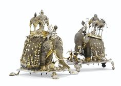 TWO INDIAN PARCEL-GILT SILVER FILIGREE ELEPHANTS WITH MAHOUT AND PALANQUIN, 19TH CENTURY http://www.sothebys.com/en/auctions/ecatalogue/2015/important-mobilier-sculptures-objets-art-pf1511/lot.61.html
