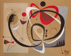 EL GATO GOMEZ PAINTING RETRO 1950S MID CENTURY DANISH MODERN EAMES ERA ABSTRACT  #Modernism