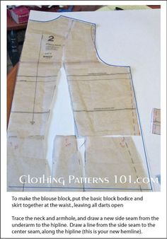 Make a womens' blouse block pattern by using the bodice and skirt patterns.