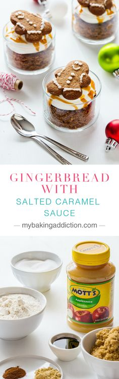Homemade Gingerbread layered with whipped cream and salted caramel sauce. #sponsored