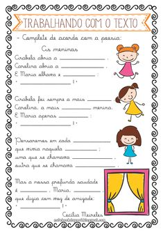 As meninas - Cecília meireles Learn Portuguese, A30, Writing Activities, Homeschool, Education, Learning, Hinata, Poetry Activities, Language Activities