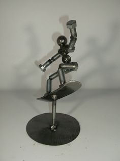 Snow Boarder Metal Bolt Figurine Working Out Area, Metal Figurines, Skate Art, Robot Art, Boarders, Paper Weights, Little Gifts, Metal Art, Amazing Art
