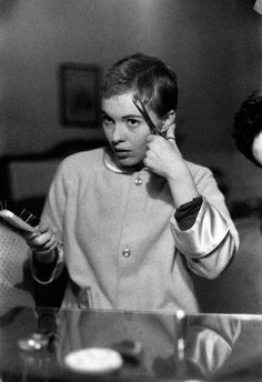 Jean Seberg cutting her hair with a comb and scissors for her role in the 1957 film Saint Joan directed by Otto Preminger. Jean Seberg, Cut Her Hair, Hair Cuts, Romain Gary, Norman Lindsay, Androgynous Hair, St Joan, Short Pixie, Hair Journey