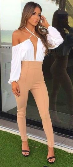 #summer #fashion |White Off The Shoulder Bodysuit & Scant Pants in Camel |  Zachary The Label