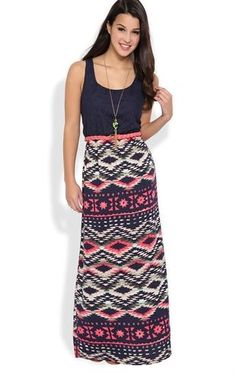 Deb Shops Long Dress with Crochet Lace Bodice and #Navajo Print Skirt $32.90