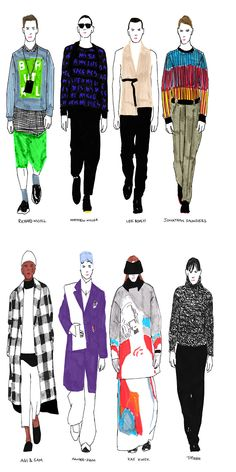 The best looks from London Collections: Men, sketched by Janelle Burger in exclusive for Fucking Young! Online.