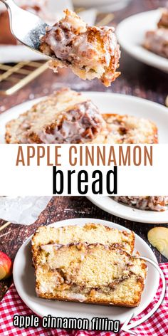 Sweet and lightly spiced Cinnamon Apple Bread is pure homemade comfort in loaf form. Packed with fresh apples and cinnamon sugar filling, this sweet bread is topped with a vanilla icing!