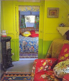Home Design and Decor , Bold Interior Gypsy Decorating Style : Gypsy Decorating Style With Floral Fabrics And Furniture And Green Yellow Walls Bohemian Interior, Bohemian Decor, Living Colors, Interior And Exterior, Interior Design, Color Interior, Deco Boheme, Deco Design, Eclectic Decor