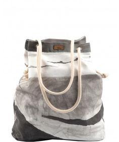 Tkaninowa torebka basic z nadrukiem szarym - me