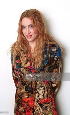 Singer Madonna poses backstage at the BBC TV studios in 1998 promoting her album 'Ray of Light' in London.