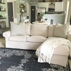 Neutral Living Room | Farmhouse Decor | IKEA Ektorp | Vintage Rug