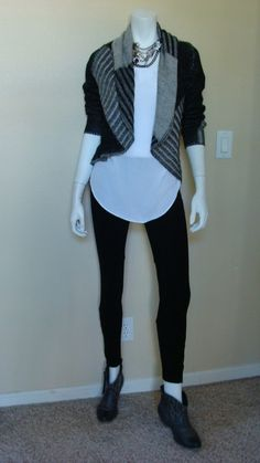 Daily Look: CAbi Fall '13 Patchwork Sweater and Ponte Legging with spring's Eliza Blouse and grey cowboy booties from Target.