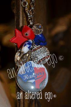 Rangers Baseball Necklace-texas rangers baseball necklace