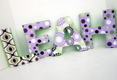This is perfect. My daughters name is Leah and her room is green and purple-Love it!    ANY LETTER Orchid purple green brown 9 inch by kidsloveletters, $20.00