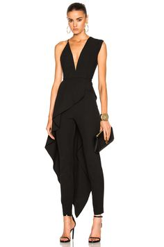 Image 1 of Michelle Mason Asymmetrical Plunge Cascade Top in Black