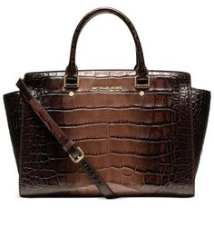 MICHAEL Michael Kors Large Selma Crocodile-Embossed Satchel