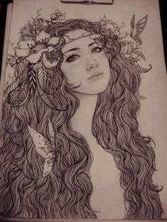 drawing of beautiful girl with flowers in her hair.