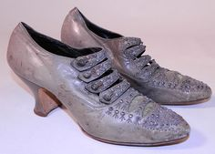 Edwardian Dove Gray Leather Steel Cut Beaded Button Strap Shoes