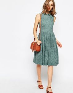 Image 4 of ASOS Midi Broderie Shirt Dress                                                                                                                                                      More