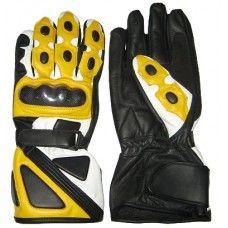 Motorcycle Leather Apparel Men's Black & Yellow Biker Gloves