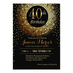 #ZAZZLE - A sparkly, glitzy, shimmery, gold and black Birthday party invitation…