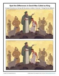 Children's Bible Activity - David Was Called as King Spot the Differences