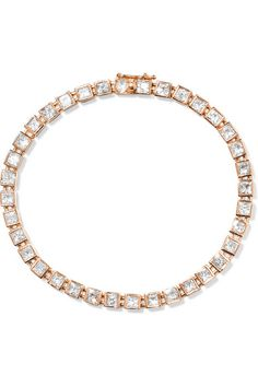 'T' is Tiffany & Co. Design Director Francesca Amfitheatrof's first collection for the brand. This bracelet has been crafted from polished 18-karat rose gold and set with 5.55-carats of stunning princess-cut diamonds and one 0.06-carat rose-cut diamond at the clasp. It looks just as beautiful alone as it does stacked with other styles from the fine jeweler.