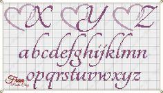 Cross Stitch Alphabet Patterns, Embroidery Alphabet, Cross Stitch Designs, Stitch Patterns, Cross Stitch Numbers, Cross Stitch Letters, Cross Stitch Heart, Plastic Canvas Letters, Alphabet Coloring Pages