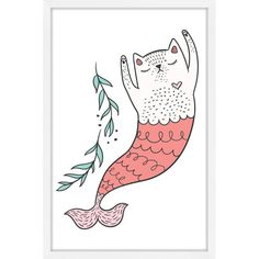 Marmont Hill Purrmaid 3 Framed Painting Print - MH-SHAPIT-48-NWFP-36