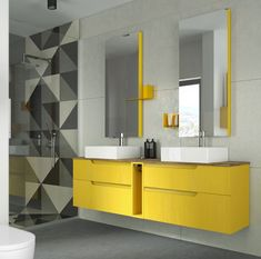 *IT* Mobile bagno giallo con doppio lavabo. Dai un tocco di colore a bagni con piastrelle scure o senza finestra! *EN* Yellow bathroom cabinet with double sink. Give a splash of colour to bathrooms with dark tiles or without windows! Bathroom Storage Over Toilet, Bathroom Sink Vanity, Downstairs Bathroom, Cabinet Decor, Cabinet Colors, Italian Bathroom, Basin Vanity Unit, Yellow Bathrooms, Modern Bathrooms
