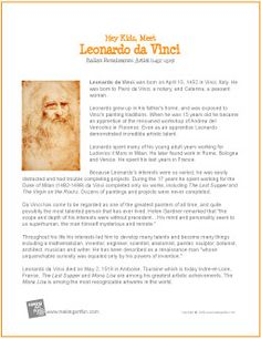 Printable Artist Biographies for Kids… Middle School Art, Art School, Artist Biography, Leonardo Da Vinci Biography, Art Handouts, 6th Grade Art, Art Worksheets, Art Curriculum, Art Classroom