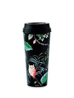 whether you fancy hot lattes or iced hibiscus tea, take it to go in this thermal mug, accented with a charming woodland scene. the bpa-, phthalate- and lead-free interior means you can sip and savor safely. what a hoot!