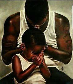 The father displaying prayer and certain religious traditions developing the baby for the social world, and religiously preparing him for anthing. Black Art Painting, Black Artwork, African American Art, African Art, Art Amour, Arte Black, Black Art Pictures, Drawing Pictures, Black Fathers