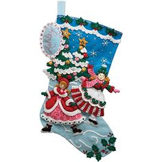 Bucilla 18Inch Christmas Stocking Felt Applique Kit 86357 Skaters -- Check this awesome product by going to the link at the image. This Amazon pins is an affiliate link to Amazon.