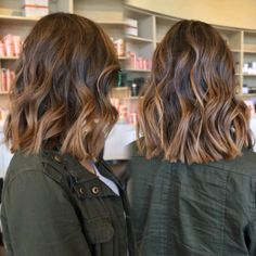 Beachy brunette balayage lob More