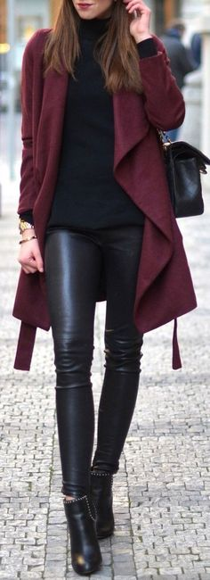 Classy Dressy Winter Outfit Ideas for the Office for Work for Women - Leather Pants Burgundy Cardigan Jacket Turtle Neck Sweater - www.Poshiroo.com
