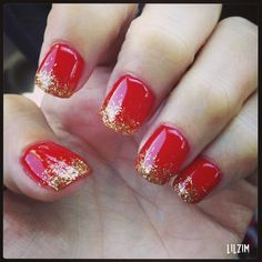 Bright Red with Gold Glitter Tips