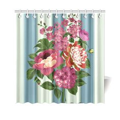 Vintage Beautiful Pink Floral Teal Stripes Shower Curtain 69