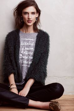 I Love that Cardigan!!!.....I usually do not like printed tshirts but this one looks great with the cardigan and those shoes....