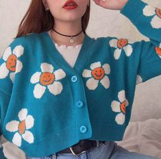 Smiley Sun Flower Blue Knit Sweater Cardigan Source by yeetmyselfoff outfits Aesthetic Fashion, Aesthetic Clothes, Look Fashion, 90s Fashion, Korean Fashion, Fashion Outfits, Blue Aesthetic, Aesthetic Sweaters, Aesthetic Women