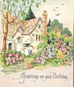 Vintage Art Deco floral cottage birthday card greetings digital art image digital download art image clip art by BigGDesigns on Etsy