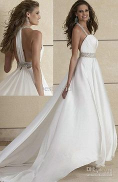Wholesale 2013 Crystal Halter Backless Wedding Dresses A-Line Chiffon Beaded Pleated Chapel Train Gown 11091, Free shipping, $134.4-162.4/Piece | DHgate
