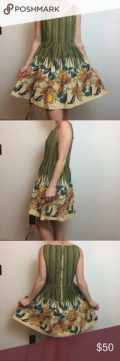 Maeve Green Grass Floral Garden Printed Dress Maeve Dress green grass printed cotton dress, sleeveless and is lined, zipper closure. So cute and worn lightly a few times , size 6P Anthropologie Dresses