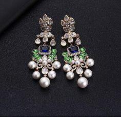 Wedding Jewelry,Bridal Jewelry,Luxury Flowers Cubic Zircon Crystal CZ Long Dangle Earrings For Women African Bridal Earring Jewelry Design Earrings, Gold Earrings Designs, Ear Jewelry, Designer Earrings, Fashion Earrings, Gold Jewelry, Fine Jewelry, Fashion Jewelry, Fashion Fashion