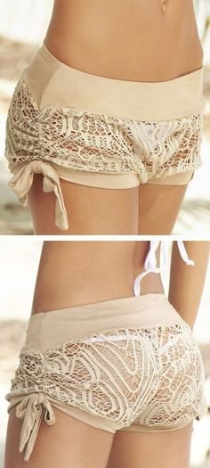Crochet Cover-Up Shorts // cUte! I have some crochet lace. Trend Fashion, Look Fashion, Fashion Beauty, Womens Fashion, Belle Lingerie, Sexy Lingerie, Mode Style, Style Me, Summer Outfits